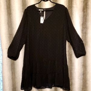 Maurices Black Dress Short With Sheer Sleeves